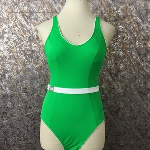 Athena | Green One Piece Swimsuit with Belt